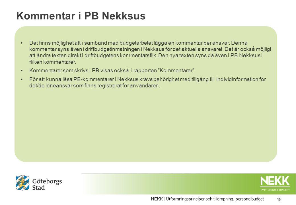 Kommentar i PB Nekksus Det finns möjlighet att i samband med budgetarbetet lägga en kommentar per ansvar.