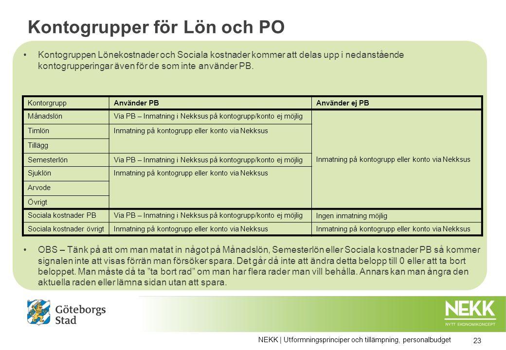Kontogrupper för Lön och PO Kontogruppen Lönekostnader och Sociala kostnader kommer att delas upp i nedanstående kontogrupperingar även för de som inte använder PB.