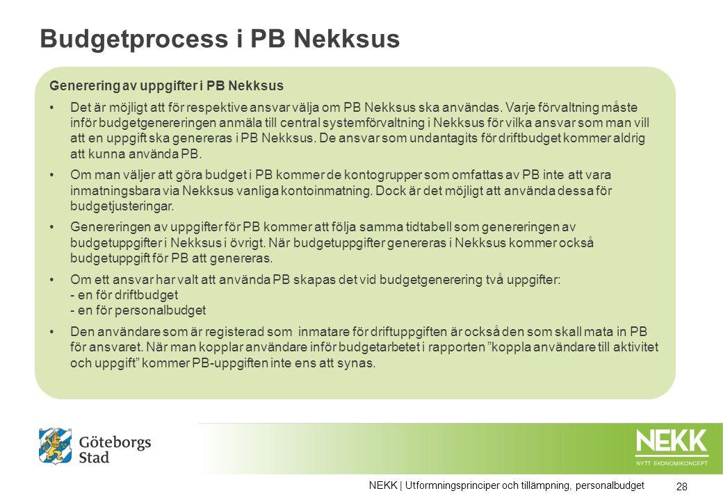 Budgetprocess i PB Nekksus Generering av uppgifter i PB Nekksus Det är möjligt att för respektive ansvar välja om PB Nekksus ska användas.