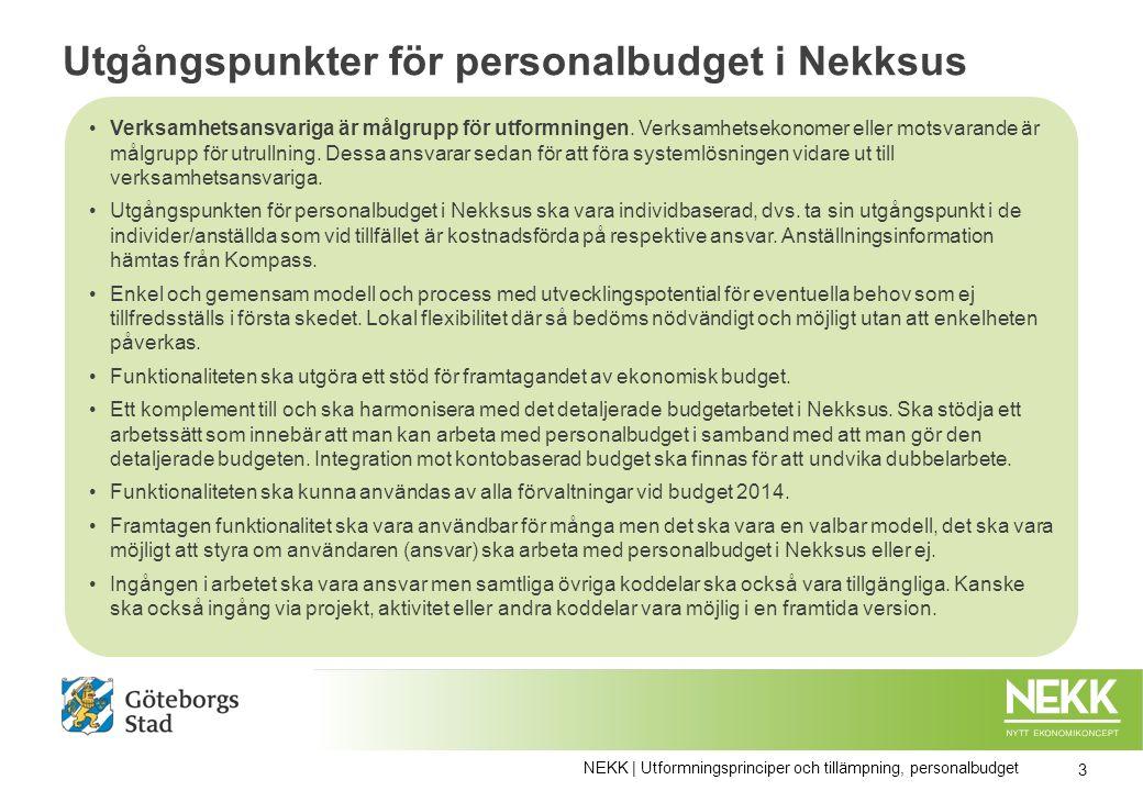 Utgångspunkter för personalbudget i Nekksus Verksamhetsansvariga är målgrupp för utformningen.