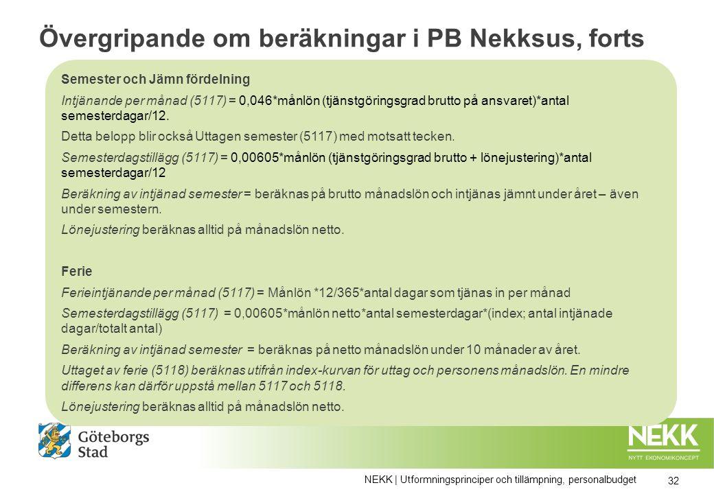 Övergripande om beräkningar i PB Nekksus, forts Semester och Jämn fördelning Intjänande per månad (5117) = 0,046*månlön (tjänstgöringsgrad brutto på ansvaret)*antal semesterdagar/12.