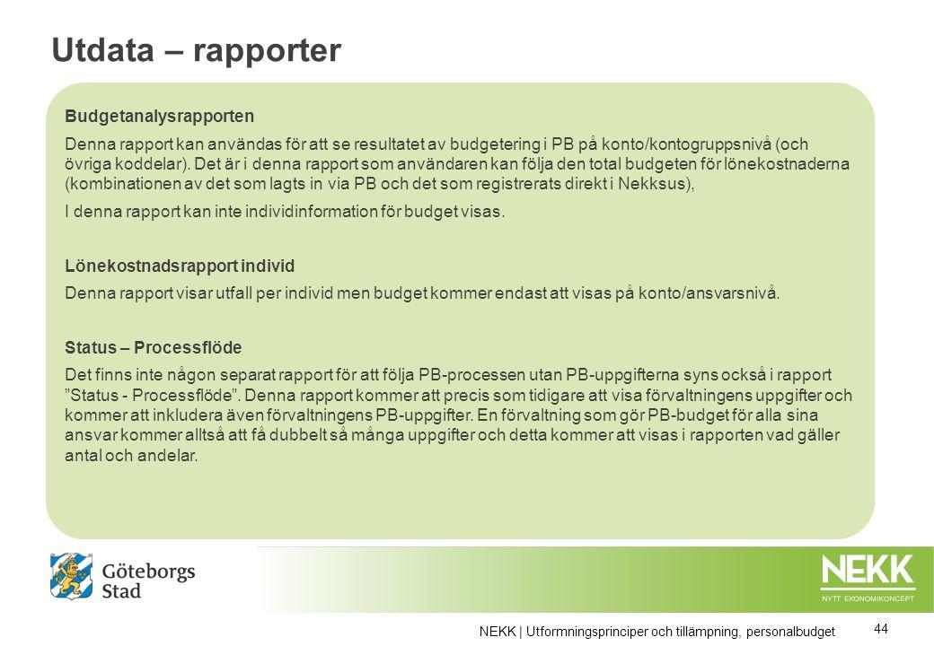 Utdata – rapporter Utdata Rapport Personalbudgetanalys Behörighet enligt löneansvar………………blabla NEKK | Utformningsprinciper och tillämpning, personalbudget 44 Budgetanalysrapporten Denna rapport kan användas för att se resultatet av budgetering i PB på konto/kontogruppsnivå (och övriga koddelar).