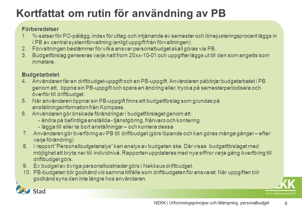 Kortfattat om rutin för användning av PB Förberedelser 1.%-satser för PO-pålägg, index för uttag och intjänande av semester och lönejusteringsprocent läggs in i PB av central systemförvaltning (enligt uppgift från förvaltningen).