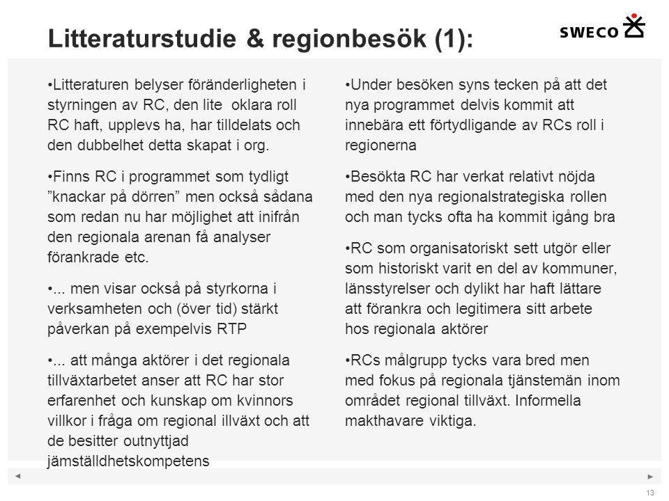◄ ► Litteraturstudie & regionbesök (1): Litteraturen belyser föränderligheten i styrningen av RC, den lite oklara roll RC haft, upplevs ha, har tilldelats och den dubbelhet detta skapat i org.
