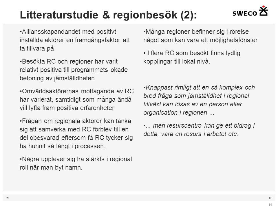 ◄ ► Litteraturstudie & regionbesök (2): Alliansskapandandet med positivt inställda aktörer en framgångsfaktor att ta tillvara på Besökta RC och regioner har varit relativt positiva till programmets ökade betoning av jämställdheten Omvärldsaktörernas mottagande av RC har varierat, samtidigt som många ändå vill lyfta fram positiva erfarenheter Frågan om regionala aktörer kan tänka sig att samverka med RC förblev till en del obesvarad eftersom få RC tycker sig ha hunnit så långt i processen.
