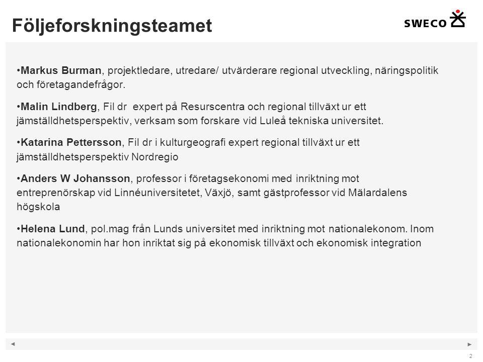 ◄ ► Följeforskningsteamet 2 Markus Burman, projektledare, utredare/ utvärderare regional utveckling, näringspolitik och företagandefrågor.
