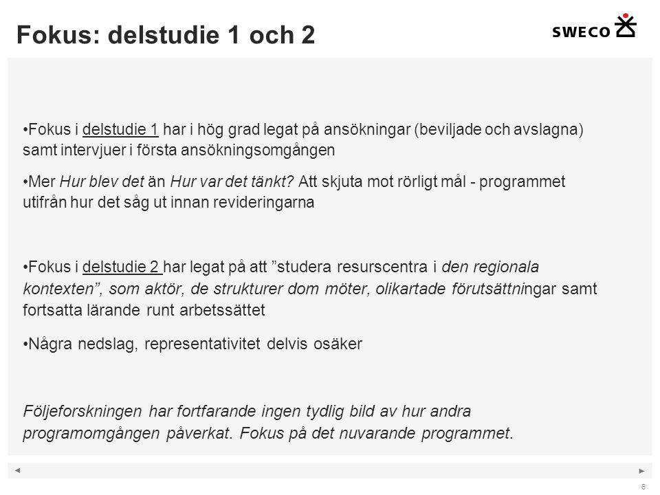 ◄ ► Fokus: delstudie 1 och 2 6 Fokus i delstudie 1 har i hög grad legat på ansökningar (beviljade och avslagna) samt intervjuer i första ansökningsomgången Mer Hur blev det än Hur var det tänkt.