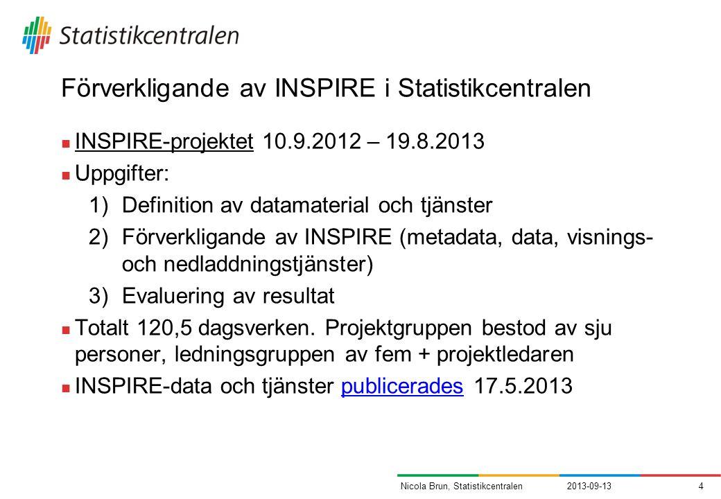 Förverkligande av INSPIRE i Statistikcentralen INSPIRE-projektet 10.9.2012 – 19.8.2013 Uppgifter: 1)Definition av datamaterial och tjänster 2)Förverkligande av INSPIRE (metadata, data, visnings- och nedladdningstjänster) 3)Evaluering av resultat Totalt 120,5 dagsverken.