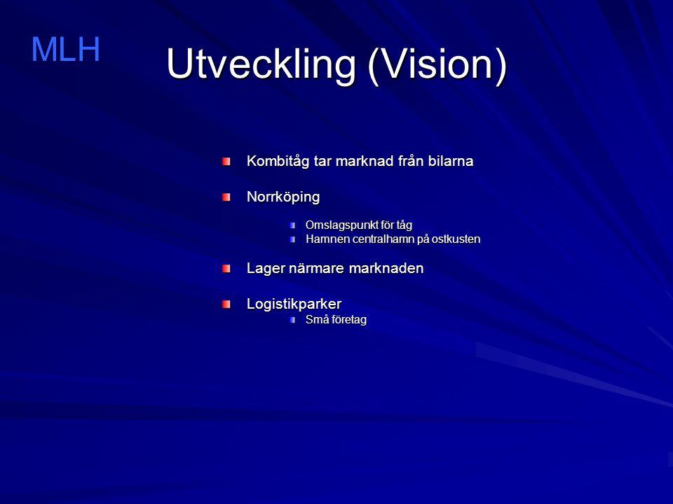 Utveckling (Vision) Kombitåg tar marknad från bilarna Norrköping Omslagspunkt för tåg Hamnen centralhamn på ostkusten Lager närmare marknaden Logistik
