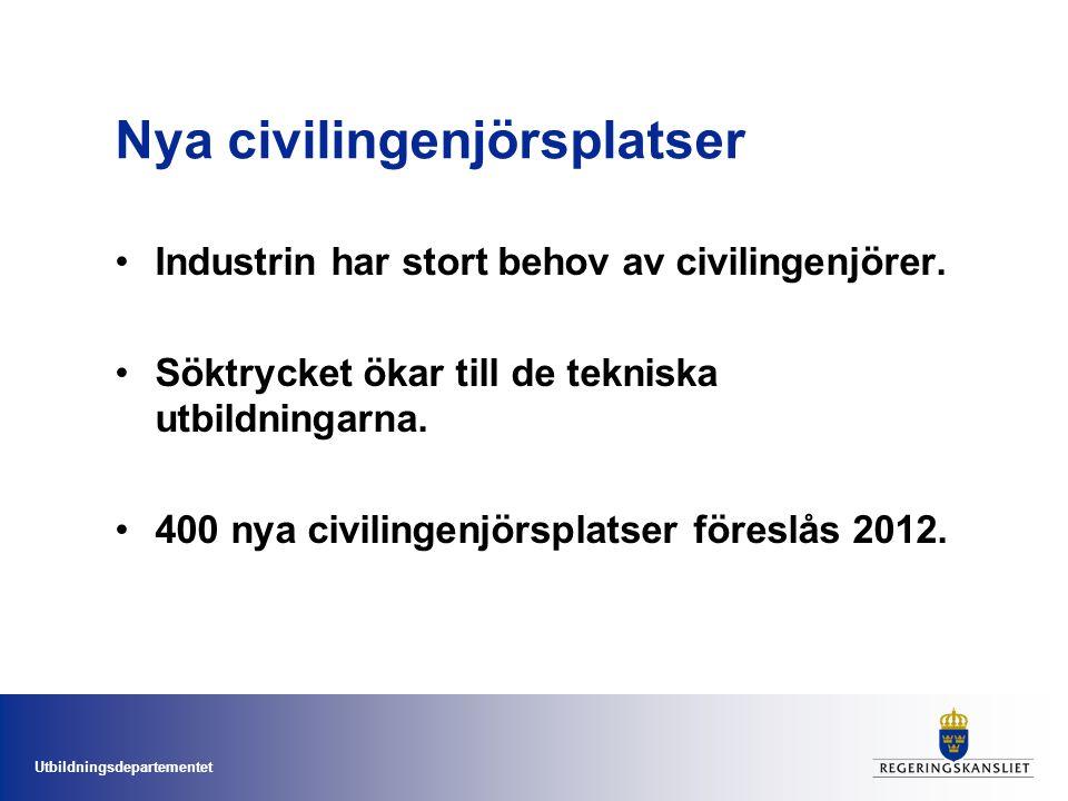 Utbildningsdepartementet Nya civilingenjörsplatser Industrin har stort behov av civilingenjörer.