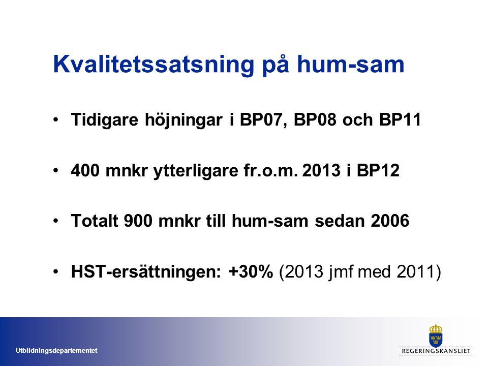 Utbildningsdepartementet Kvalitetssatsning på hum-sam Tidigare höjningar i BP07, BP08 och BP11 400 mnkr ytterligare fr.o.m. 2013 i BP12 Totalt 900 mnk