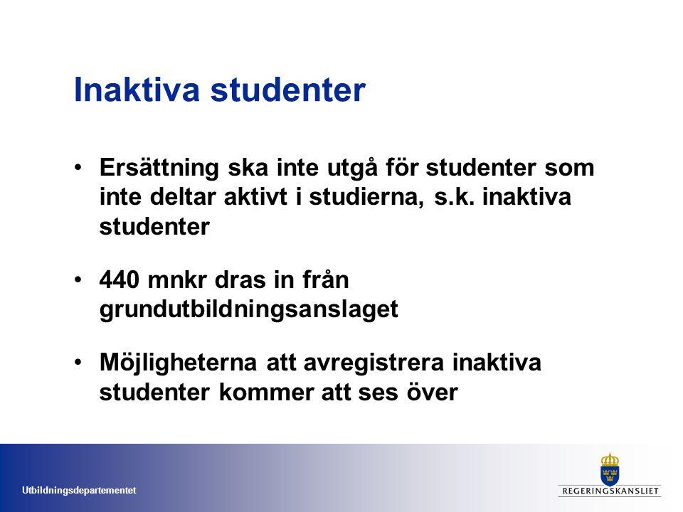 Utbildningsdepartementet Inaktiva studenter Ersättning ska inte utgå för studenter som inte deltar aktivt i studierna, s.k. inaktiva studenter 440 mnk