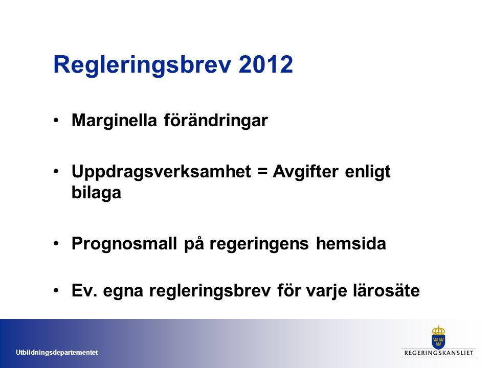 Utbildningsdepartementet Regleringsbrev 2012 Marginella förändringar Uppdragsverksamhet = Avgifter enligt bilaga Prognosmall på regeringens hemsida Ev.