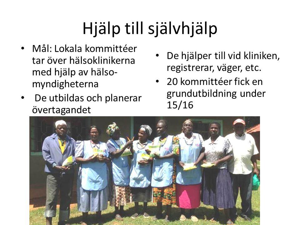 Hjälp till självhjälp Mål: Lokala kommittéer tar över hälsoklinikerna med hjälp av hälso- myndigheterna De utbildas och planerar övertagandet De hjälper till vid kliniken, registrerar, väger, etc.