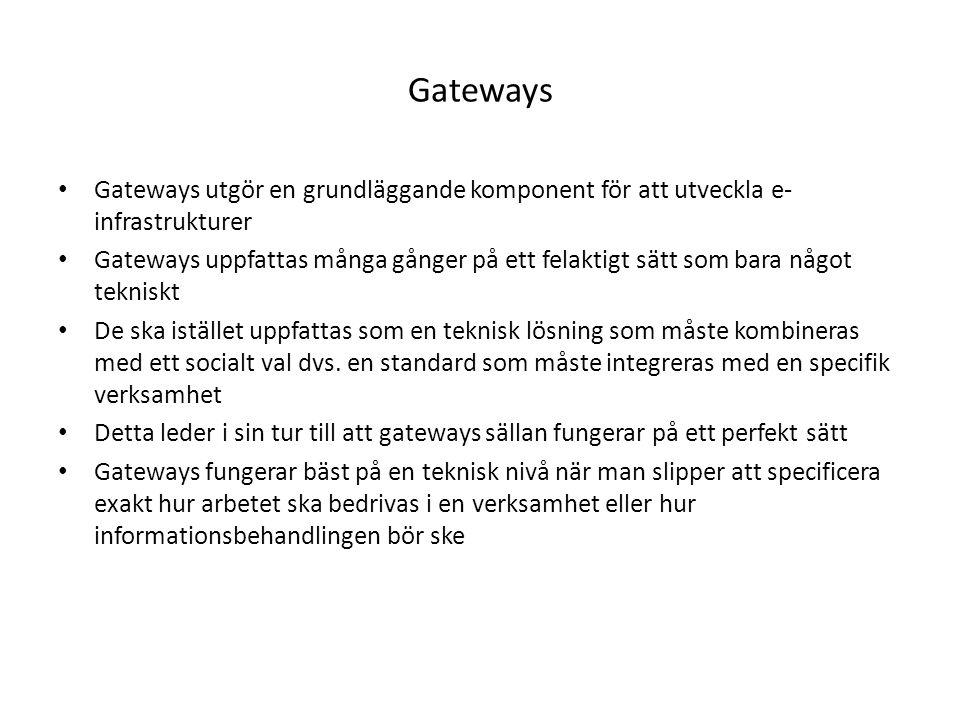 Gateways Gateways utgör en grundläggande komponent för att utveckla e- infrastrukturer Gateways uppfattas många gånger på ett felaktigt sätt som bara något tekniskt De ska istället uppfattas som en teknisk lösning som måste kombineras med ett socialt val dvs.