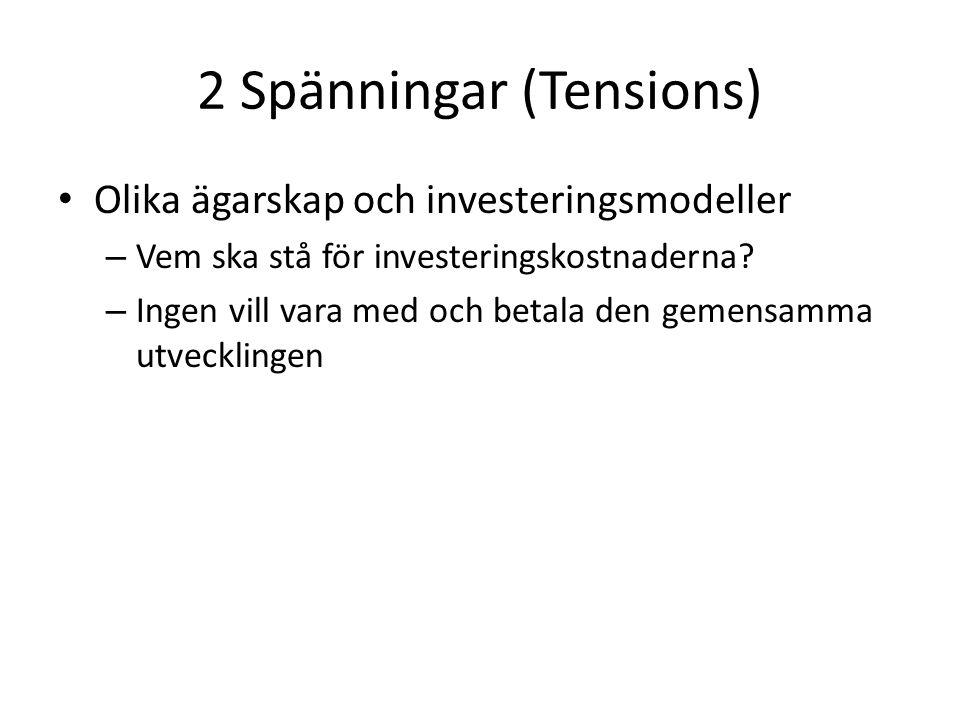 2 Spänningar (Tensions) Olika ägarskap och investeringsmodeller – Vem ska stå för investeringskostnaderna.
