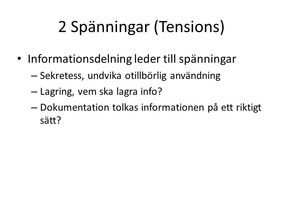 2 Spänningar (Tensions) Informationsdelning leder till spänningar – Sekretess, undvika otillbörlig användning – Lagring, vem ska lagra info.
