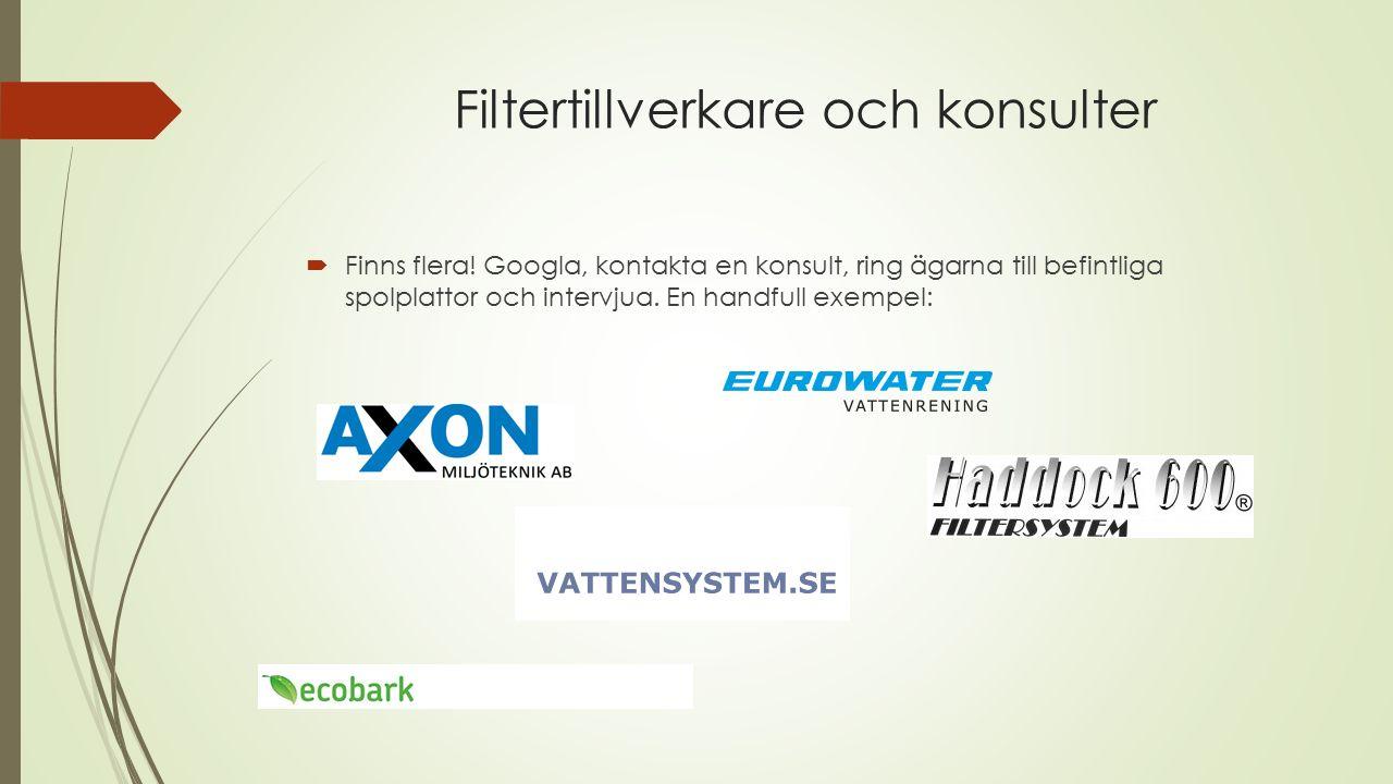 Filtertillverkare och konsulter  Finns flera.