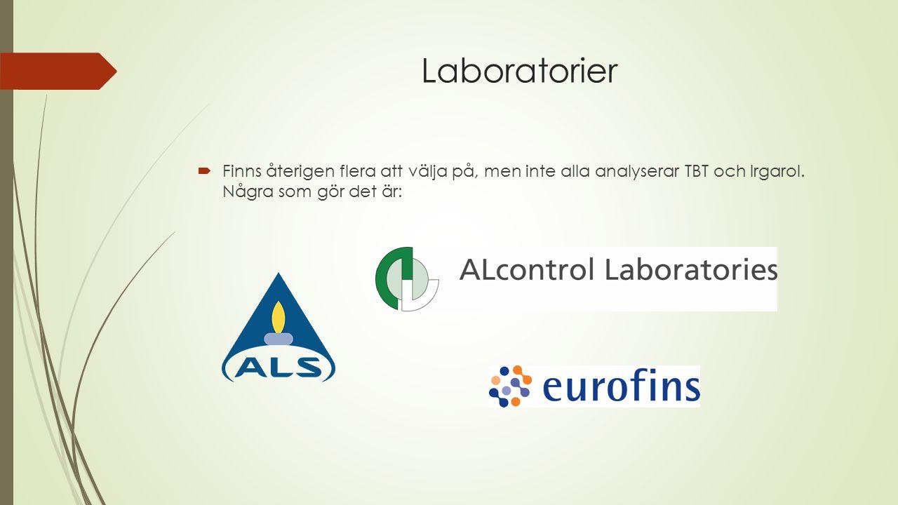 Laboratorier  Finns återigen flera att välja på, men inte alla analyserar TBT och Irgarol.