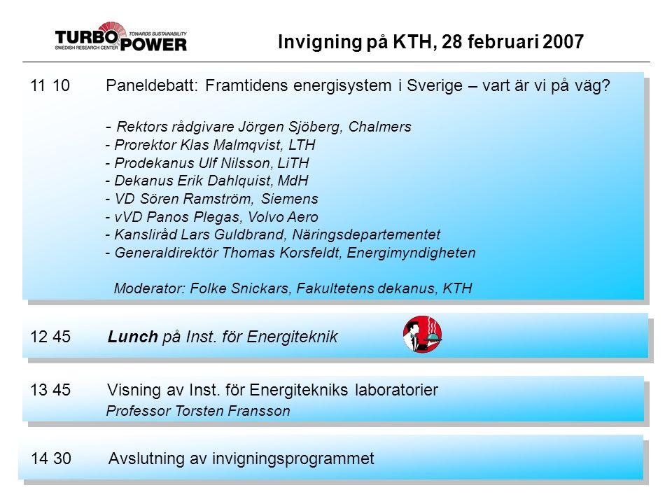 Invigning på KTH, 28 februari 2007 11 10 Paneldebatt: Framtidens energisystem i Sverige – vart är vi på väg.