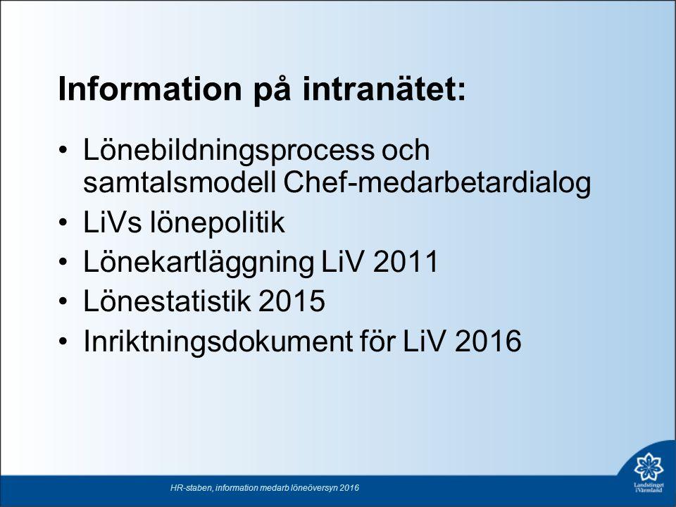 Information på intranätet: Lönebildningsprocess och samtalsmodell Chef-medarbetardialog LiVs lönepolitik Lönekartläggning LiV 2011 Lönestatistik 2015