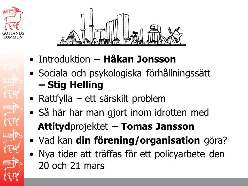 program Introduktion – Håkan Jonsson Sociala och psykologiska förhållningssätt – Stig Helling Rattfylla – ett särskilt problem Så här har man gjort inom idrotten med Attitydprojektet – Tomas Jansson Vad kan din förening/organisation göra.
