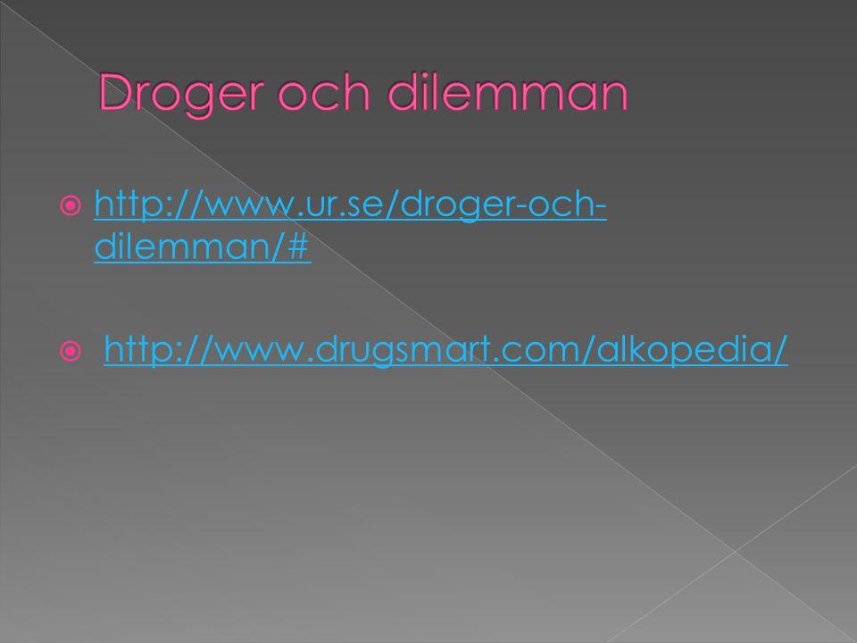  http://www.ur.se/droger-och- dilemman/# http://www.ur.se/droger-och- dilemman/#  http://www.drugsmart.com/alkopedia/http://www.drugsmart.com/alkopedia/