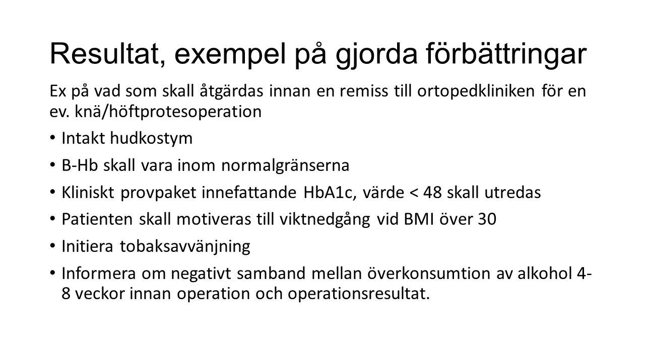 Resultat, exempel på gjorda förbättringar Ex på vad som skall åtgärdas innan en remiss till ortopedkliniken för en ev. knä/höftprotesoperation Intakt