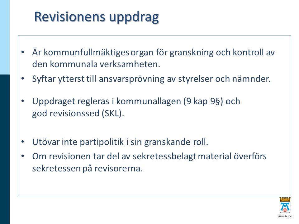 Revisionens uppdrag Är kommunfullmäktiges organ för granskning och kontroll av den kommunala verksamheten.