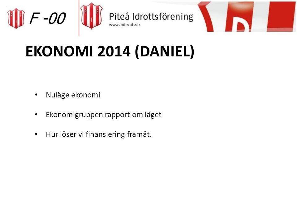 EKONOMI 2014 (DANIEL) Nuläge ekonomi Ekonomigruppen rapport om läget Hur löser vi finansiering framåt.