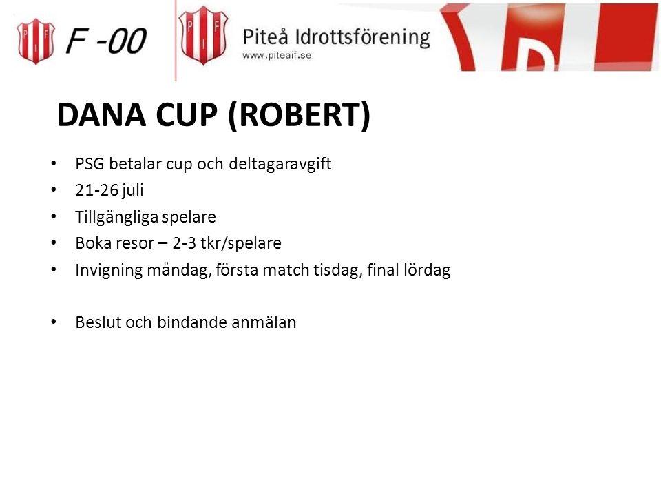 DANA CUP (ROBERT) PSG betalar cup och deltagaravgift 21-26 juli Tillgängliga spelare Boka resor – 2-3 tkr/spelare Invigning måndag, första match tisdag, final lördag Beslut och bindande anmälan