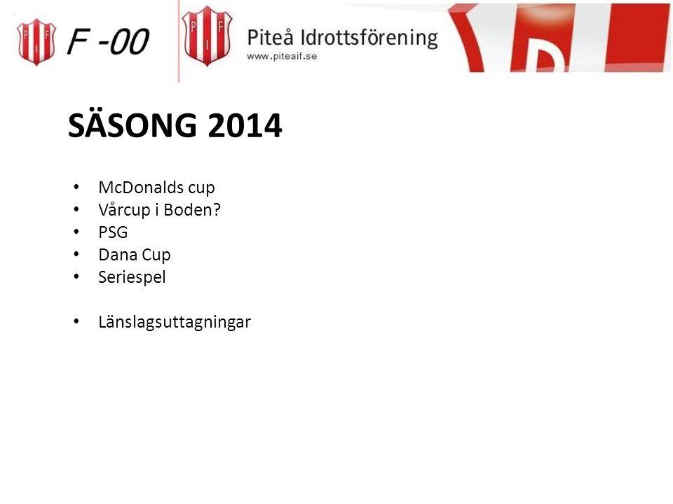SÄSONG 2014 McDonalds cup Vårcup i Boden? PSG Dana Cup Seriespel Länslagsuttagningar