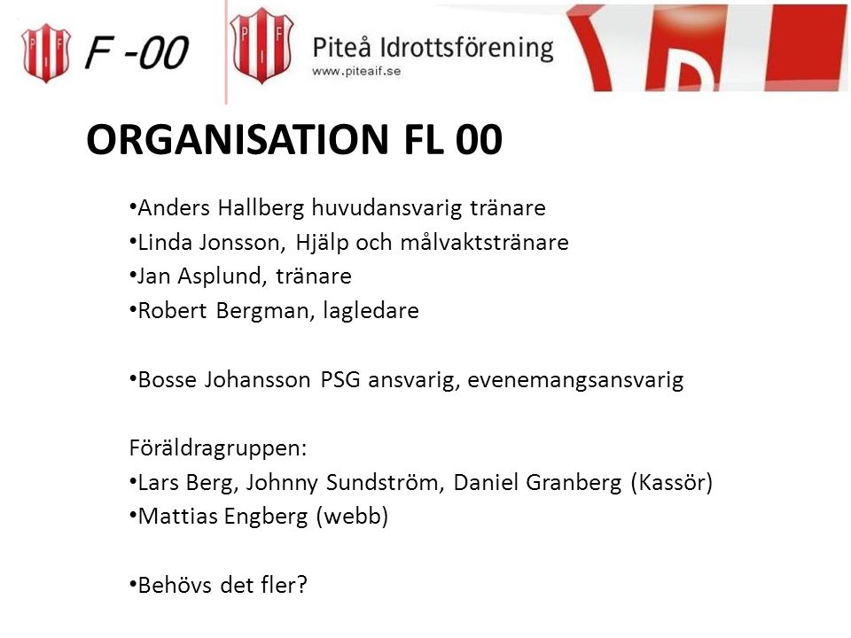 FÖRÄLDRAANSVAR 2014(F00) Ekonomiskt – försäljning Fika vid matcher Sova med laget på cuper, handla frukost etc.