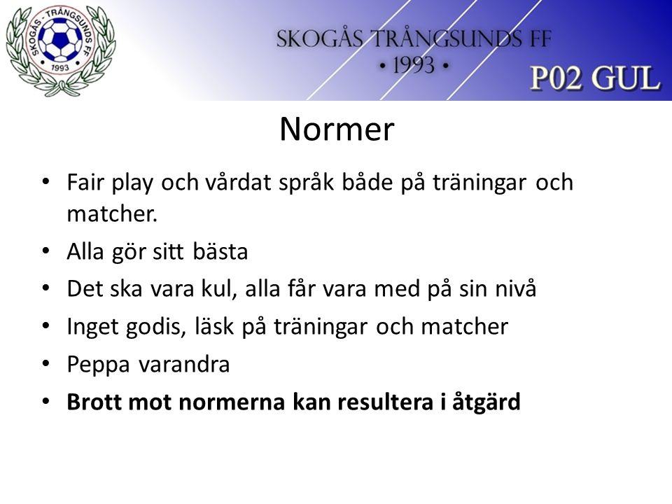 Normer Fair play och vårdat språk både på träningar och matcher.