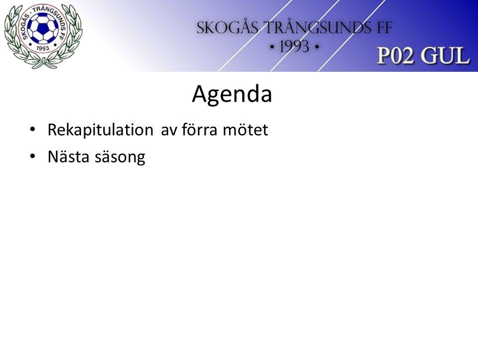 Agenda Rekapitulation av förra mötet Nästa säsong
