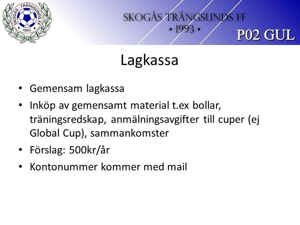 Lagkassa Gemensam lagkassa Inköp av gemensamt material t.ex bollar, träningsredskap, anmälningsavgifter till cuper (ej Global Cup), sammankomster Förslag: 500kr/år Kontonummer kommer med mail
