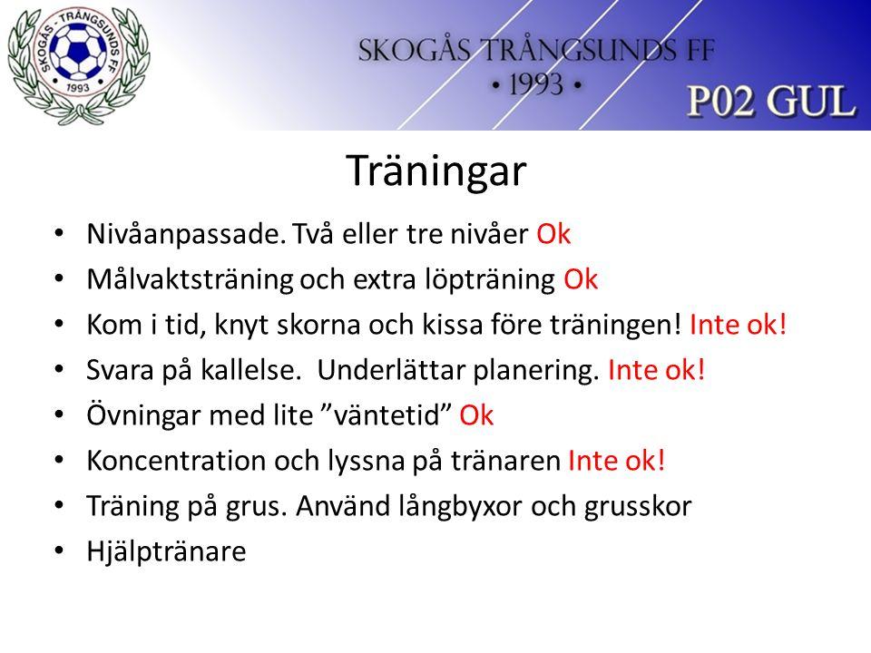 Träningar Nivåanpassade.