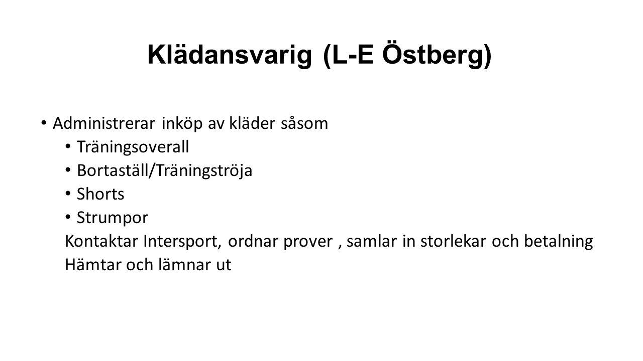 Klädansvarig (L-E Östberg) Administrerar inköp av kläder såsom Träningsoverall Bortaställ/Träningströja Shorts Strumpor Kontaktar Intersport, ordnar prover, samlar in storlekar och betalning Hämtar och lämnar ut