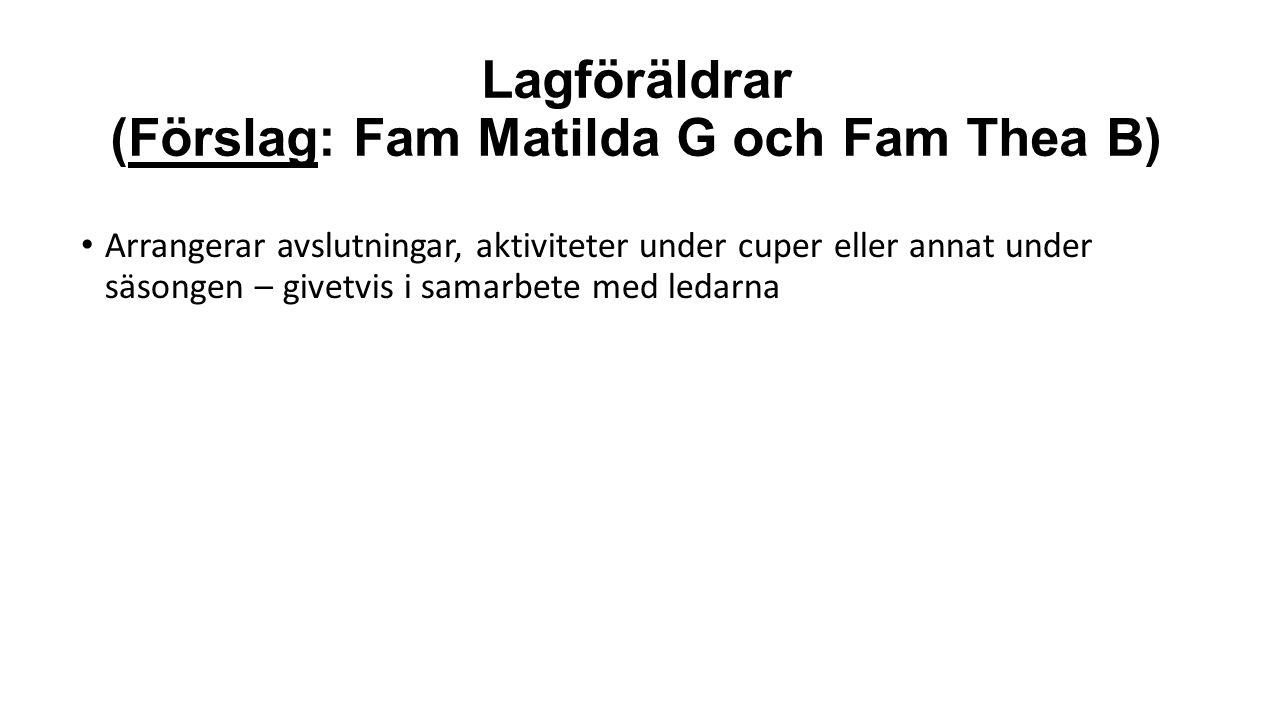 Lagföräldrar (Förslag: Fam Matilda G och Fam Thea B) Arrangerar avslutningar, aktiviteter under cuper eller annat under säsongen – givetvis i samarbete med ledarna