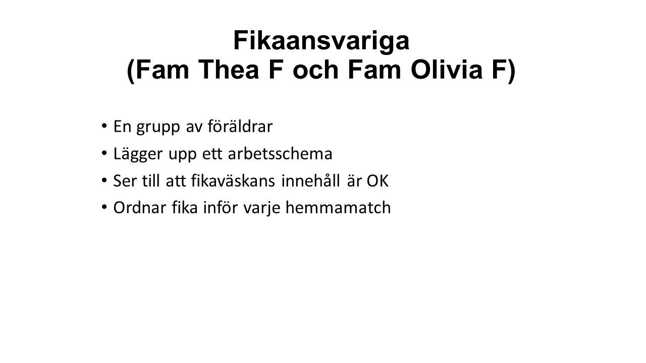 Fikaansvariga (Fam Thea F och Fam Olivia F) En grupp av föräldrar Lägger upp ett arbetsschema Ser till att fikaväskans innehåll är OK Ordnar fika inför varje hemmamatch