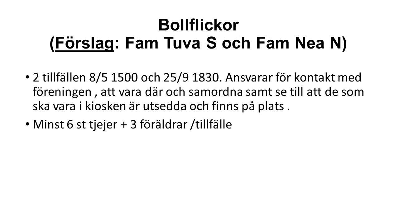Bollflickor (Förslag: Fam Tuva S och Fam Nea N) 2 tillfällen 8/5 1500 och 25/9 1830.