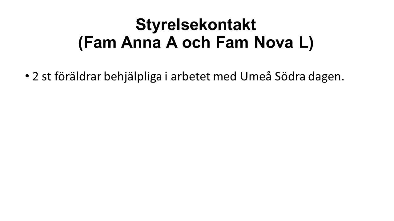 Styrelsekontakt (Fam Anna A och Fam Nova L) 2 st föräldrar behjälpliga i arbetet med Umeå Södra dagen.