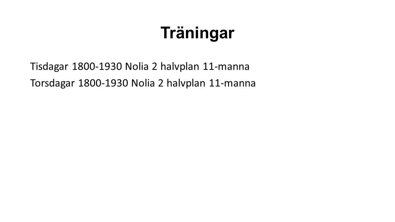 Träningar Tisdagar 1800-1930 Nolia 2 halvplan 11-manna Torsdagar 1800-1930 Nolia 2 halvplan 11-manna