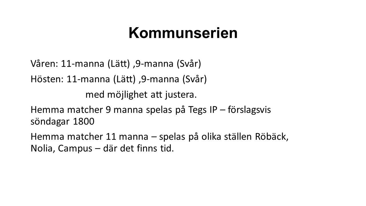 Kommunserien Våren: 11-manna (Lätt),9-manna (Svår) Hösten: 11-manna (Lätt),9-manna (Svår) med möjlighet att justera.