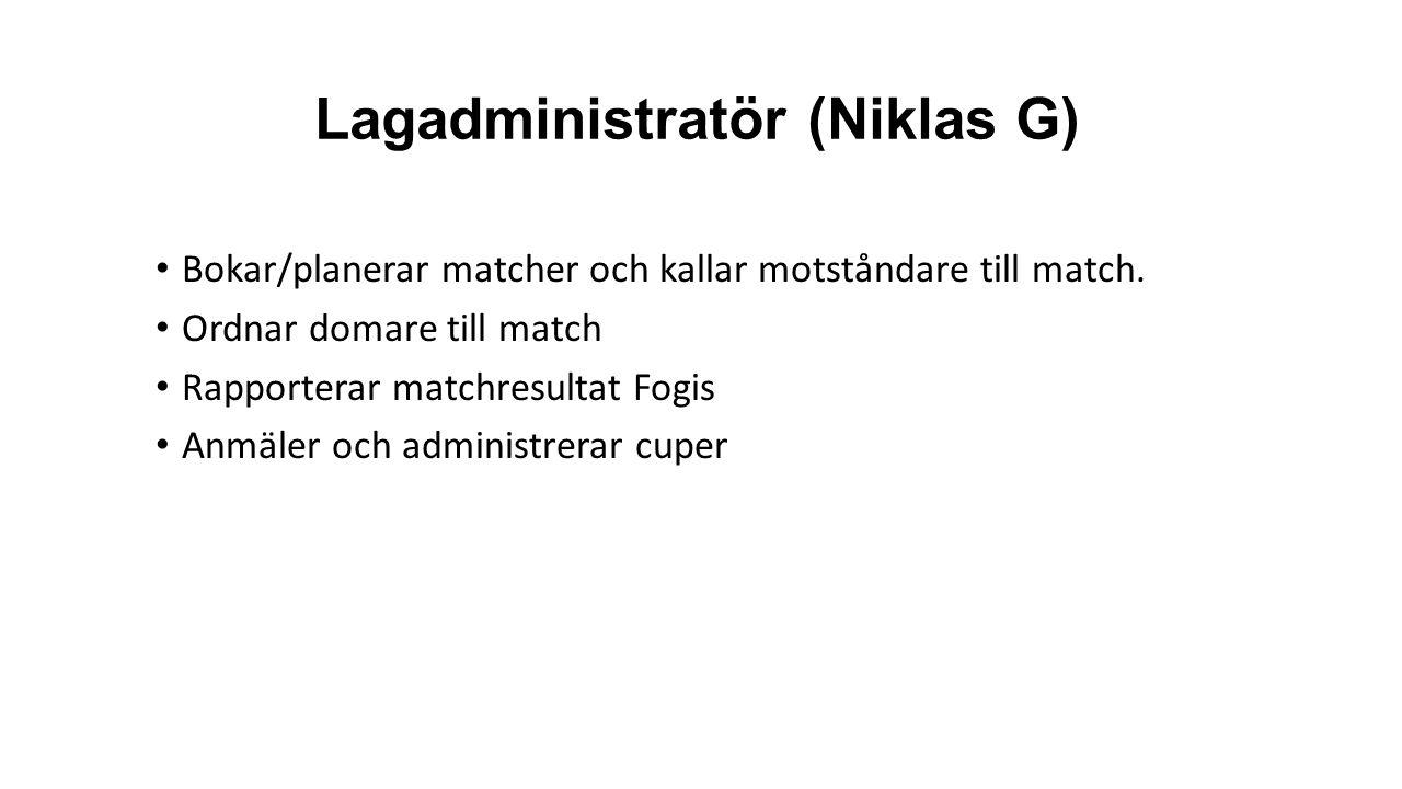 Lagadministratör (Niklas G) Bokar/planerar matcher och kallar motståndare till match.