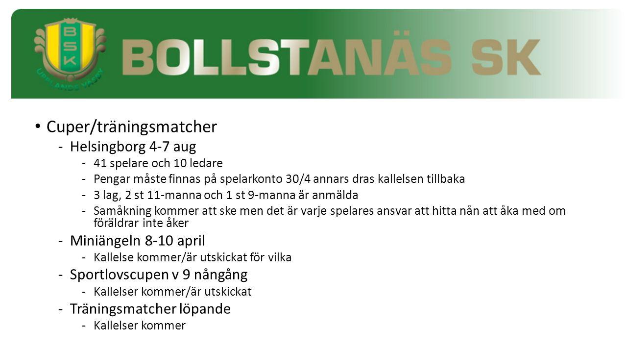 Cuper/träningsmatcher -Helsingborg 4-7 aug -41 spelare och 10 ledare -Pengar måste finnas på spelarkonto 30/4 annars dras kallelsen tillbaka -3 lag, 2 st 11-manna och 1 st 9-manna är anmälda -Samåkning kommer att ske men det är varje spelares ansvar att hitta nån att åka med om föräldrar inte åker -Miniängeln 8-10 april -Kallelse kommer/är utskickat för vilka -Sportlovscupen v 9 nångång -Kallelser kommer/är utskickat -Träningsmatcher löpande -Kallelser kommer