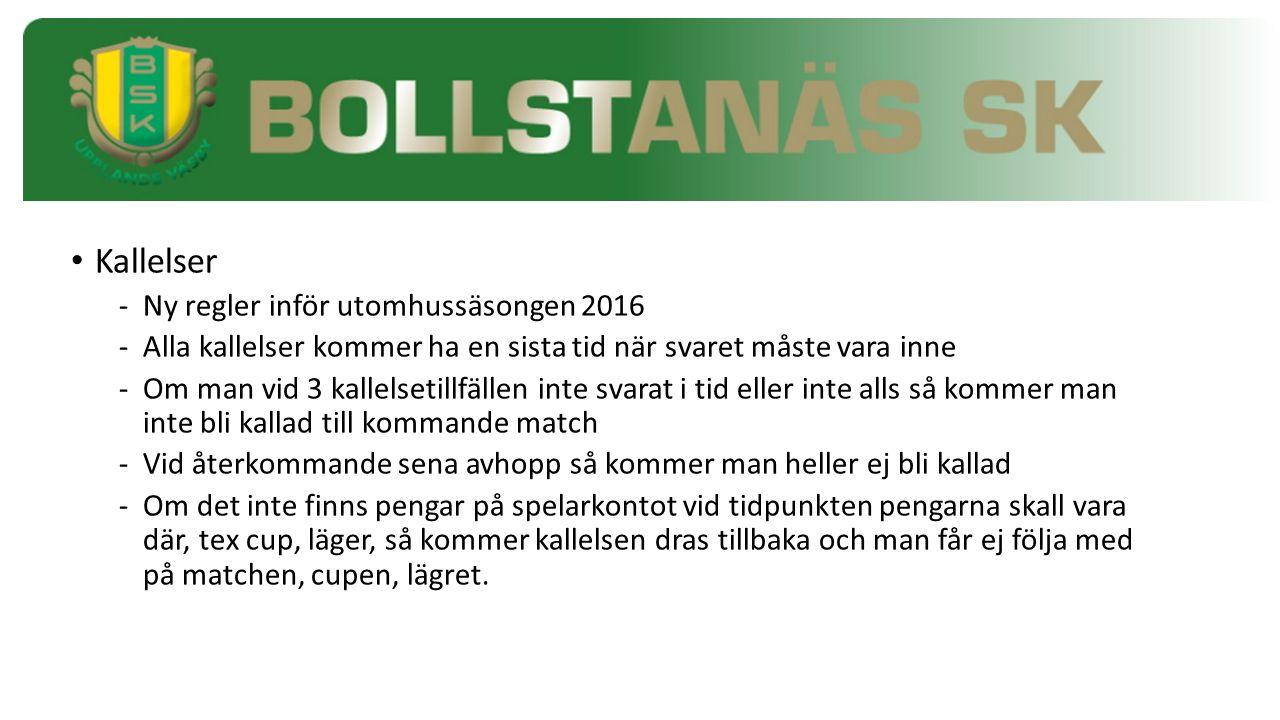 Kallelser -Ny regler inför utomhussäsongen 2016 -Alla kallelser kommer ha en sista tid när svaret måste vara inne -Om man vid 3 kallelsetillfällen int