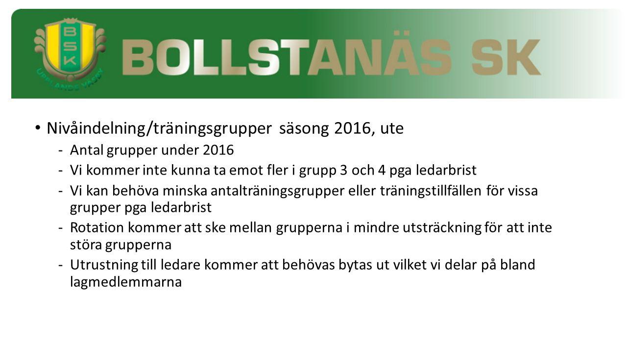 Nivåindelning/träningsgrupper säsong 2016, ute - Antal grupper under 2016 -Vi kommer inte kunna ta emot fler i grupp 3 och 4 pga ledarbrist -Vi kan be