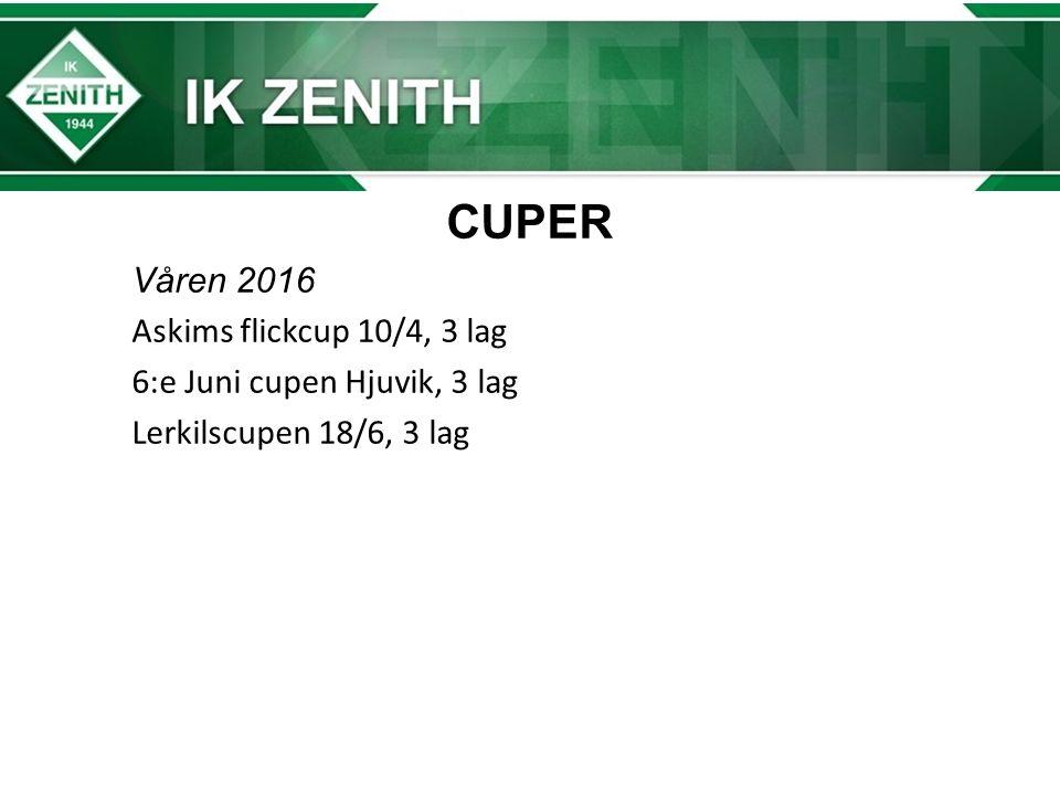 CUPER Våren 2016 Askims flickcup 10/4, 3 lag 6:e Juni cupen Hjuvik, 3 lag Lerkilscupen 18/6, 3 lag
