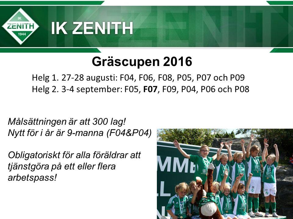 Gräscupen 2016 Helg 1. 27-28 augusti: F04, F06, F08, P05, P07 och P09 Helg 2.